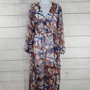Meghan LA Abstract Ruffled Hem Dress